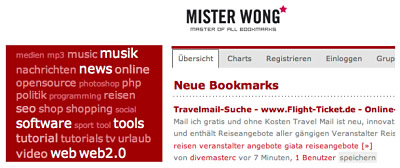 Bookmarks mit Mister Wong verwalten