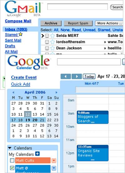 Google Mail und Google Calendar